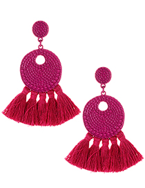 Fashion Claret Red Round Shape Decorated Tassel Earrings