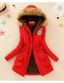 Fashion Red Pure Color Decorated Coat