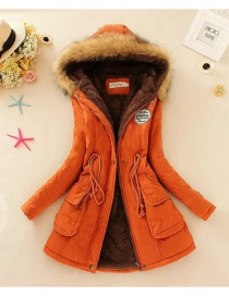 Fashion Orange Pure Color Decorated Coat