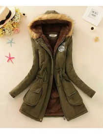 Fashion Dark Green Pure Color Decorated Coat
