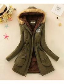 Fashion Dark Green Pure Color Decorated Coat
