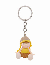 Fashion Yellow Doll Shape Decorated Keychain