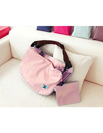 Fashion Pink Pure Color Decorated Backpack