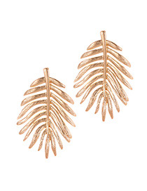 Fashion Gold Color Leaf Shape Design Earrings
