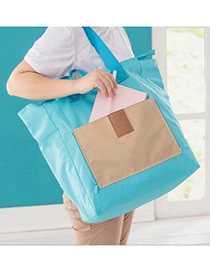 Fashion Blue Color-matching Decorated Laptop Bag