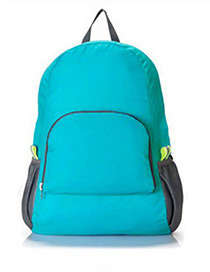 Fashion Blue Pure Color Decorated Backpack