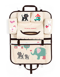 Fashion Beige+black Cartoon Patterns Decorated Storage Bag