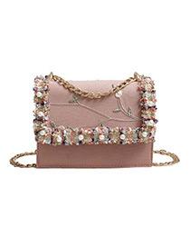 Fashion Pink Flower Pattern Decorated Shoulder Bag