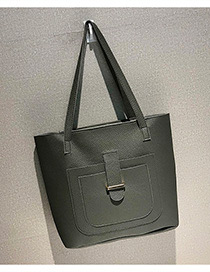 Fashion Gray Buckle Shape Decorated Shoulder Bag (4 Pcs )