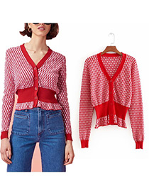 Vintage Red Grid Pattern Decorated Shirt