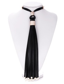Fashion Black Tassel Decorated Pure Color Necklace