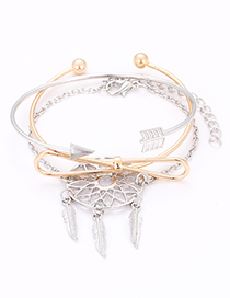 Fashion Silver Color+gold Color Bowknot Shape Decorated Bracelet (3 Pcs)