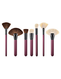 Fashion Claret Red Sector Shape Decorated Makeup Brush (7 Pcs)