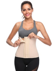 Fashion Beige Pure Color Decorated Corset