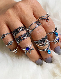 Fashion Silver Color Flower Shape Decorated Ring (13 Pcs )