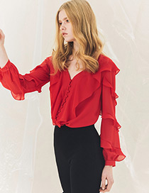 Fashion Red V Neckline Design Pure Color Shirt