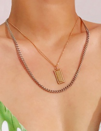 Fashion Gold Color Square Shape Decorated Multi-layer Necklace