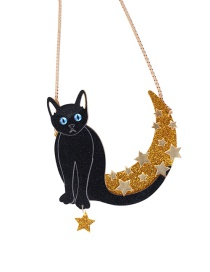 Fashion Black Cat*star Shape Decorated Necklace