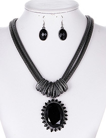 Fashion Black Round Shape Gemstone Decorated Jewelry Sets