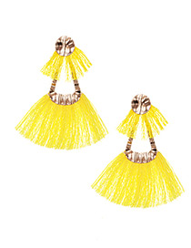 Fashion Yellow Double Tassel Design Simple Earrings