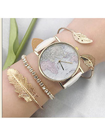 Fashion Gold Color Diamond&leaf Deccorated Bracelet(3pcs)