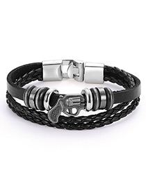 Fashion Black+silver Color Gun Shape Decorated Bracelet