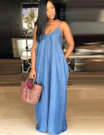 Fashion Blue V Neckline Design Pure Color Dress
