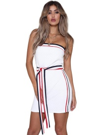 Fashion White Stripe Pattern Decorated Dress