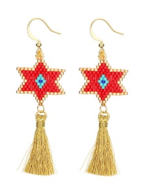 Fashion Red Star Shape Decorated Tassel Earrings