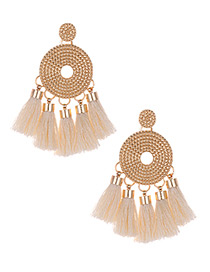 Fashion Beige Round Shape Decorated Tassel Earrings