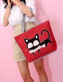 Fashion Red Cat Pattern Decorated Bag