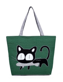 Fashion Green Cat Pattern Decorated Bag