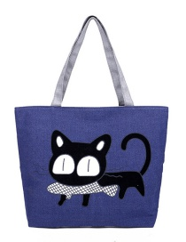 Fashion Blue Cat Pattern Decorated Bag