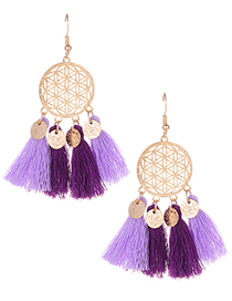 Fashion Purple Hollow Out Design Tassel Earrings