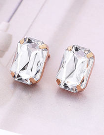 Fashion White Square Shape Decorated Earrings