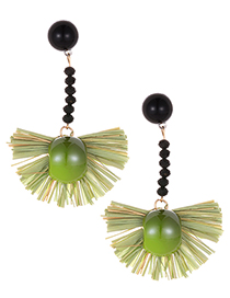 Fashion Green Sector Shape Decorated Earrings