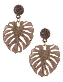 Fashion Coffee Leaf Shape Decorated Earrings