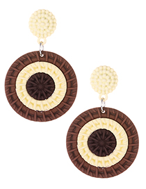 Fashion Coffee Color Matching Decorated Earrings
