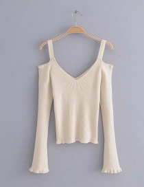 Fashion Beige Pure Color Decorated V Neckline Shirt