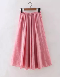 Fashion Pink Pure Color Decorated Skirt
