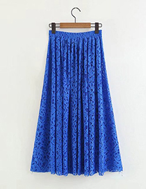 Fashion Blue Pure Color Decorated Skirt