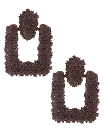 Fashion Brown Square Shape Decorated Earrings