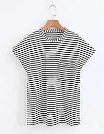Fashion White+black Stripe Pattern Decorated Shirt
