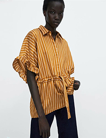 Fashion Yellow Stripe Pattern Decorated Shirt