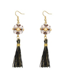 Fashion Multi-color Tassel&pearl Decorated Earrings