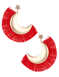Fashion Red Moon Shape Design Tassel Earrings