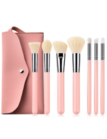 Fashion Pink+beige Color Matching Design Cosmetic Brush(7pcs With Bag)