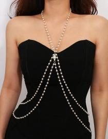 Elegant Gold Color Full Pearls Decorated Body Chain