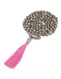Fashion Pink Tassel&beads Decorated Long Necklace