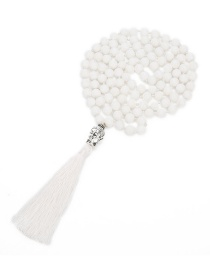 Fashion White Buddha&tassel Decorated Pure Color Necklace
